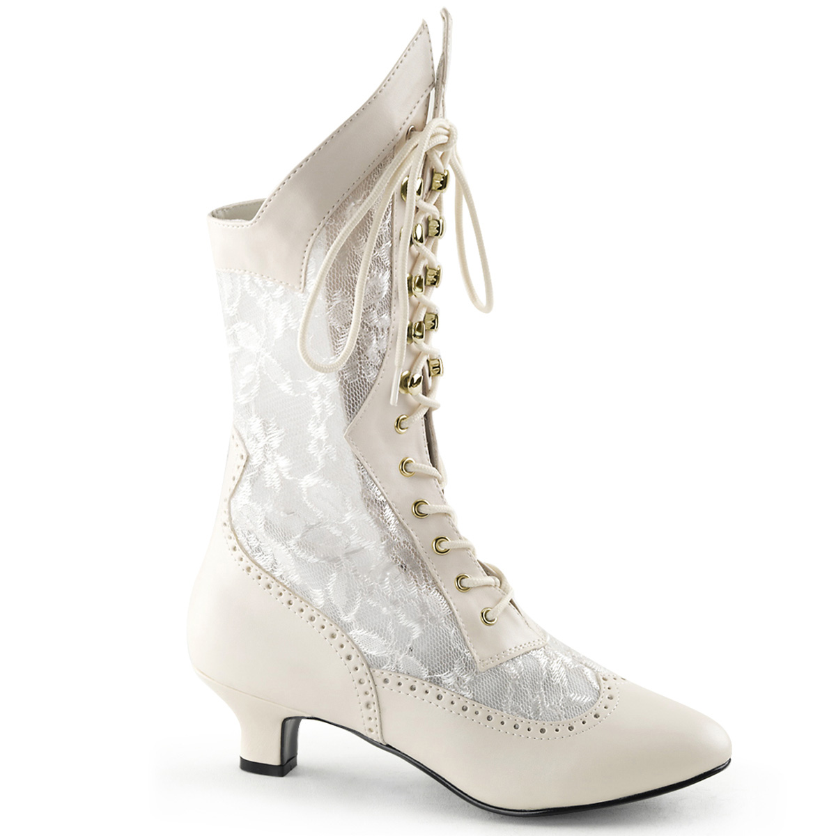Funtasma By Pleaser Funtasma Ivory Lace Victorian Ankle Boots