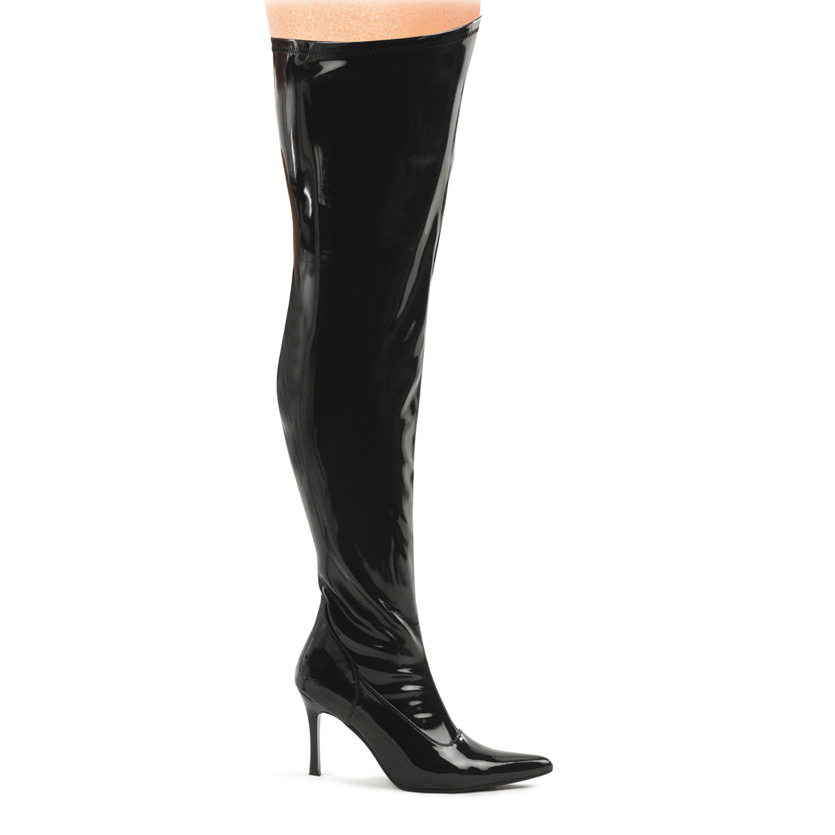Pleaser WIDE WIDTH Women's Zip Up Black Patent Costume Thigh Boots at Sears.com