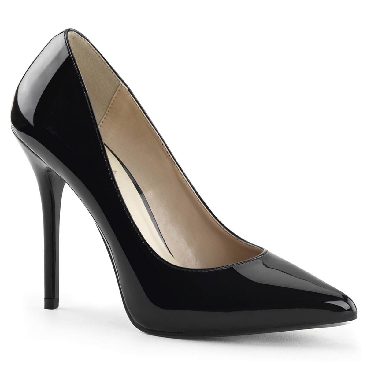 "Pleaser AMUSE-20 - Black Patent - 5"" Heel, 3/8"" Hidden Platform Pump Pump in New Arrivals"