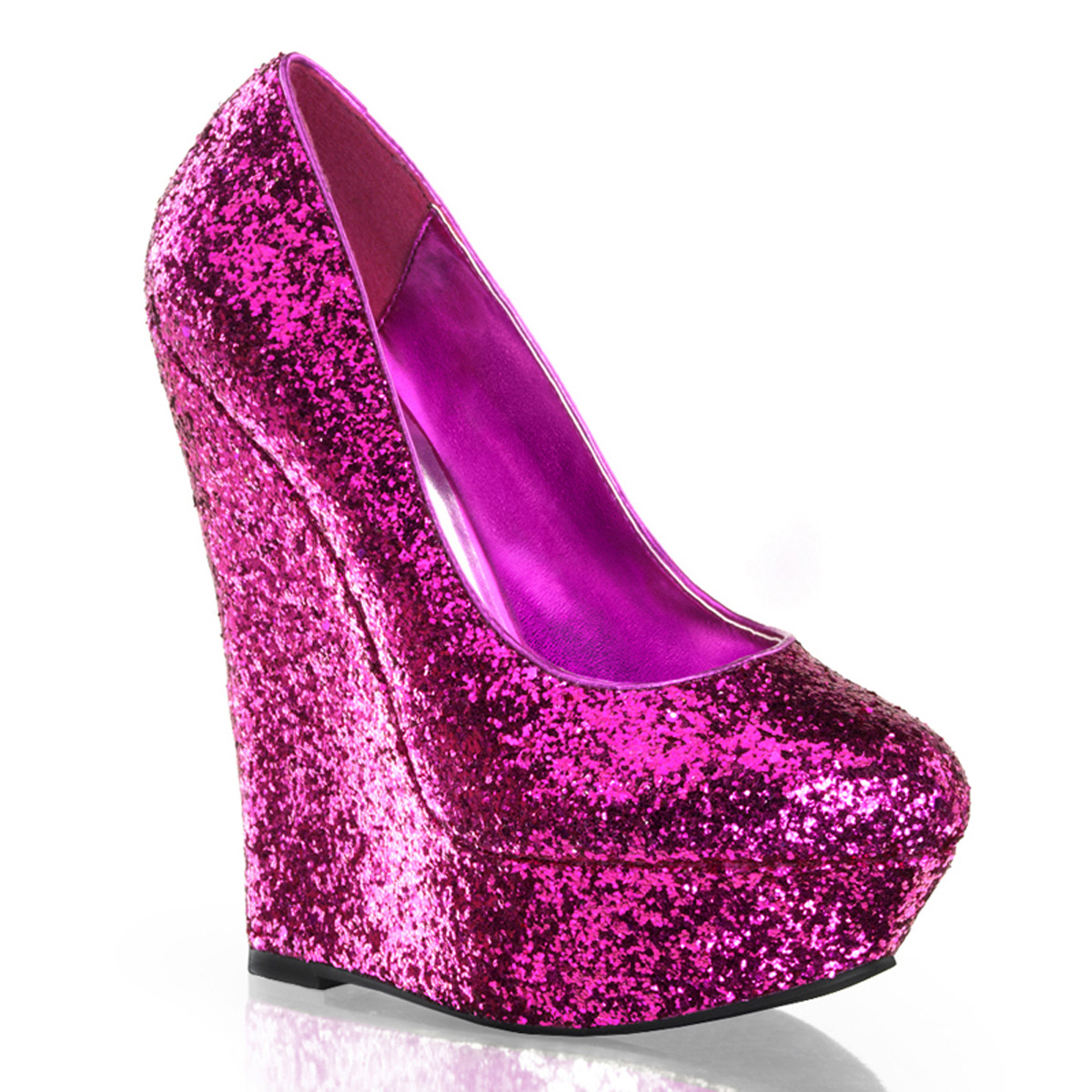 Pleaser Luster-20 Womens Sexy Hot Pink Glitter Wedges 6 Inch High Heels Wedge Pumps Club Shoes at Sears.com